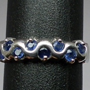 SALE Vintage 14kt Blue Sapphire Ring; FREE SIZING.