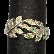 SALE Vintage Tsavorite and Sapphire 14k Ring