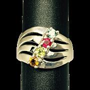 SALE Vintage Zircon-Ruby-Peridot-Citrine 14k Ring