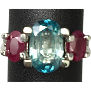 SALE 14k Blue Zircon & Ruby Ring,FREE SIZING.