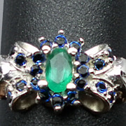 SALE 14kt Emerald & Blue Sapphire Ring; FREE SIZING.