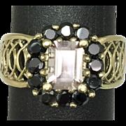 SALE 14k Morganite & Onyx Ring FREE SIZING