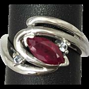 SALE 14k Ruby & Topaz Ring. Free Sizing.