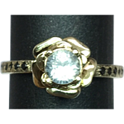 SALE 14k White Sapphire & Onyx Ring. Free Sizing