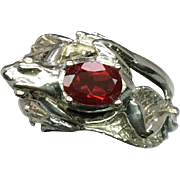 SALE 14k Red Andesine Frog Ring. Free Sizing