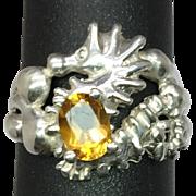 SALE 14k Citrine Seahorse Ring, Free Sizing.