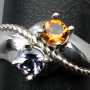SALE Natural Citrine & Tanzanite Silver Ring, ANY SIZE FROM 3 TO 13.