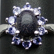 SALE Natural Sunstone & Tanzanite Silver Ring,