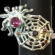 SALE 14k Spiderweb Gemstones Ring. Free Sizing