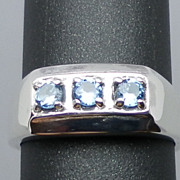 SALE Natural Blue Topaz Silver Ring, ANY SIZE FROM 4 TO 15