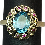 SALE 14k Blue Zircon & Ruby Ring, Free Sizing.