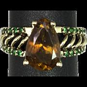SALE 14k Sphene & Tsavorite Ring, Free Sizing