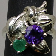 SALE Natural  Amethyst and Emerald Silver Ring available in all sizes 3 to 13.
