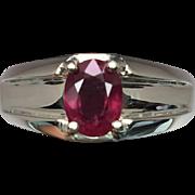 SALE 14k Ruby Men's Ring, W-Y-R, Free Sizing.