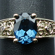 SALE 14kt London Blue Topaz & Diamonds Ring; FREE SIZING.