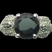 SALE 14k Onyx & Diamonds Ring, FREE SIZING
