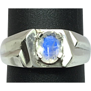 SALE 14k Faceted Moonstone Men's Ring, FREE SIZING