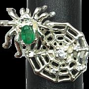 SALE 14k Emerald & Diamonds Ring, FREE SIZING