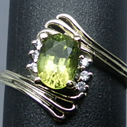SALE 14kt peridot and diamonds ring; FREE SIZING