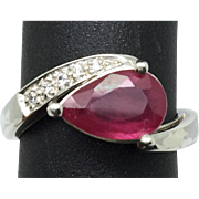 SALE 14k Ruby & Diamonds Ring, FREE SIZING.