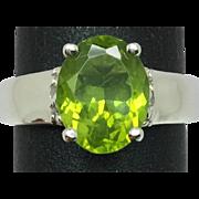 SALE 14k Peridot & Diamond Ring, FREE SIZING