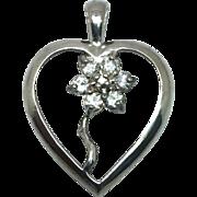 SALE 14k White Sapphire Heart Pendant W-Y-R
