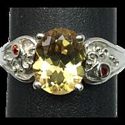 SALE 14k Citrine & Garnet Ring, FREE SIZING