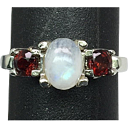 SALE 14k Moonstone & Garnet Ring, FREE SIZING