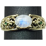 SALE 14k Rainbow Moonstone & Tsavorite Ring, FREE SIZING