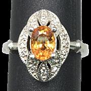 SALE 14k Mandarin Garnet Ring, FREE SIZING