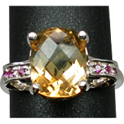 Natural Citrine & Ruby Silver Ring, FREE SIZING