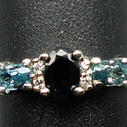 SALE 14kt, Blue Sapphire, Blue Zircon & Diamonds Ring; FREE SIZING.