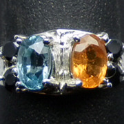 SALE Natural Mandarin Garnet, Blue Zircon & Onyx Silver Ring; FREE SIZING.