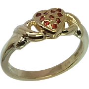 14k Orange Sapphire Heart Ring, Free Sizing