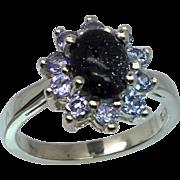14k Goldstone & Tanzanite Ring, Free Sizing.