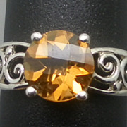 SALE Vintage 14kt Citrine Ring; FREE SIZING.