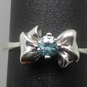 SALE Vintage 14kt Blue Zircon Ring; FREE SIZING.
