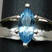 SALE Natural  Blue Topaz Silver Ring; ANY SIZE 3-13