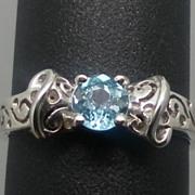 SALE Vintage 14kt Blue Zircon Ring; FREE SIZING