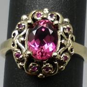 SALE Vintage 14kt Pink Tourmaline & Ruby Ring.