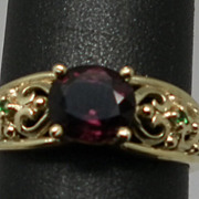 SALE Vintage 14kt Spinel & Emerald  Ring