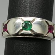 SALE Vintage 14kt  Emerald & Ruby  Men's Ring