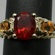 SALE Vintage 14kt Andesine & Citrine Ring.