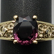 SALE Vintage 14kt Spinel & Diamonds Ring.