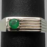 SALE Vintage 14kt Emerald Men's Ring; FREE SIZING