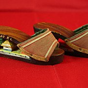 REDUCED Vintage 40's Phillippine Mini Carved Wooden Platform Doll/Baby  Shoes