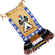 NATIVE AMERICAN APACHE BEADED WITH THUNDERBIRDS DICE OR CHILD'S BAG