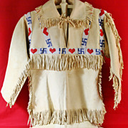 SOLD Native American Boy's Beaded Buckskin Shirt and Pants