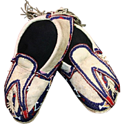 Native American Osage Man's Beaded and Fringed Moccasins