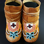 Native American Subarctic Quilled & Beaded Moccasins